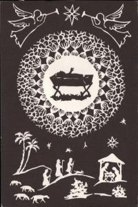 silhouette art nouveau Christmas scene angles
