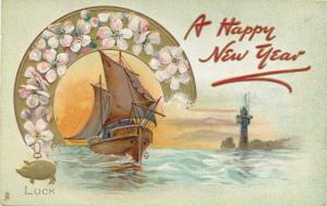 Happy New Year Greetings - Lucky Pig and Ship - DB - Tuck