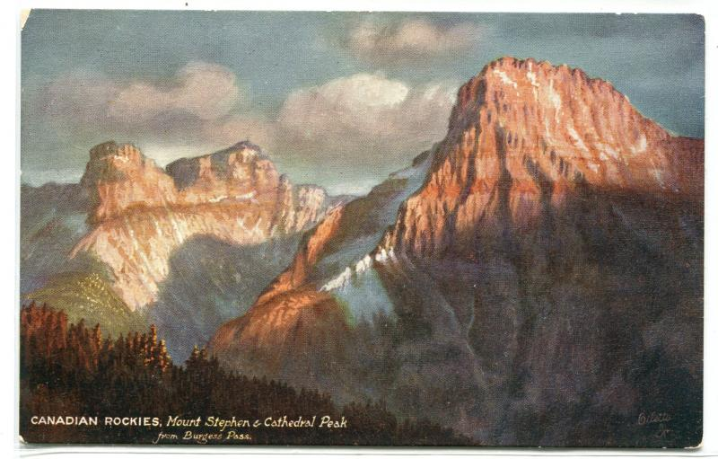 Mount Stephen Cathedral Peak Burgess Pass Canadian Rockies Canada Tuck postcard