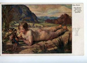 244846 NUDE Woman GIANTESS Little Man by Meran RISS Vintage PC