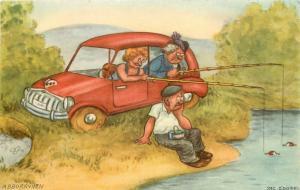 Swedish Postcard Abborrviken A/S Edgren, Women Fishing from Car, Sad Man Watches