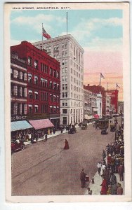 P1324 old history postcard unused street old cars signs etc springfield mass