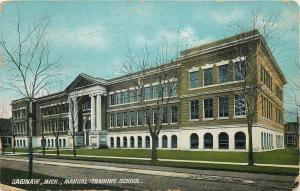Saginaw, Michigan~Manual Training School~1910 Postcard