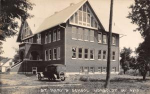 Humboldt Iowa~St Mary's Catholic School~Little Girl on Ledge~1920s Car~RPPC