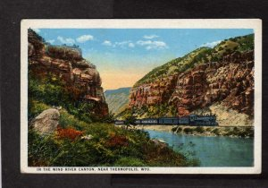WY Wind River Canyon nr Thermopolis Wyoming Railroad Train Railway Postcard