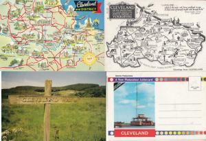 Cleveland Yorkshire Unique Bundle incl Folding Novelty Map Signpost Postcard s
