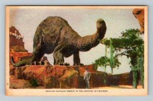 Chicago IL-Illinois, World's Fair, Sinclair Dinosaur Exhibit, Linen Postcard