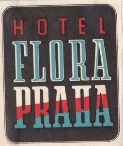 Czechoslovakia Praha Hotel Flore Vintage Luggage Label lbl0836