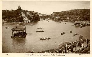 UK - England, Scarborough. Peasholm Park Floating Bandstand    *RPPC