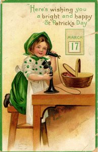 Greeting - St Patrick's Day.     Artist: Clapsaddle   (embossed, card has cre...