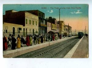 203103 EGYPT SUEZ train ariving Port-Tewfik Vintage postcard