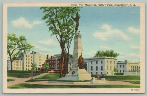 Manchester New Hampshire~Victory Park~World War Memorial~Wreath on Steps~1940s