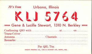 QSL Radio Card From Urbana Illinois KLJ 5764
