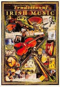 Postcard, Traditional Irish Music Poster, Greetings from Ireland AZ0
