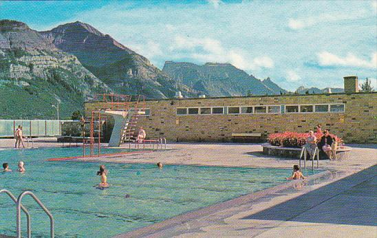 Canada Alberta Waterton Lakes Swimming Pool And Waterton Valley