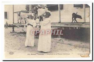 Old Postcard Gabon Loango Neophytes of the Catholic mission
