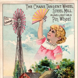 Wind Mill The Crane Tangent Wheel Steel Mill Girl Cows Farm Victorian Trade Card