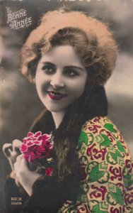 RP: Woman & rose , hand tinted , 00-10s