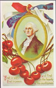 GEORGE WASHINGTON is in this framed image with cherries... 1920s era