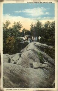 Fulton Chain of Lakes NY People on Bald Mountain c1920 Postcard
