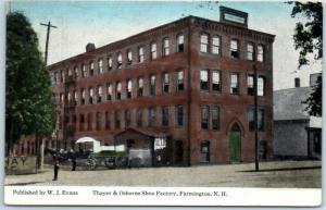 Farmington, New Hampshire Postcard Thayer & Osborne Shoe Factory 1917 Cancel