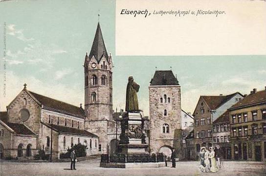 Lutherdenkmal u. Nicolaithor, Eisenach (Thuringia), Germany, 1900-1910s