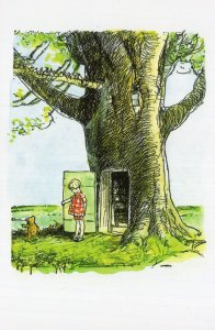 Winnie The Pooh Christopher Robin at Treehouse Book Postcard