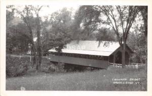 C66/ Vermont VT RPPC Postcard Covered Bridge c1940 Brattleboro Creamery Bridge 4