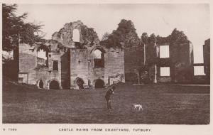African Man With Dog at Tutbury Castle Staffs Real Photo Postcard