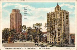 Harrisburg Pennsylvania~Payne Shoemaker Building & Harrisburger Hotel~Statue~'35