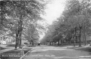 Tiffin Ohio~Monroe Street South @ Charlotte Street~Residential Area~1908 B&W Pc