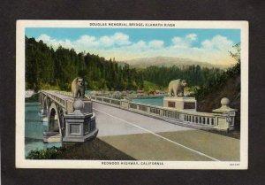 CA Douglas Memorial Bridge Klamath River Redwood Highway California Postcard
