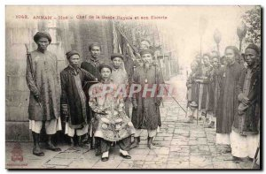 Annam Hue Old Postcard Chef of the royal guard and its escort Indo-China Indo...