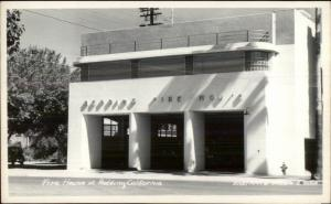 Redding CA Fire House Station Real Photo Postcard - Eastman