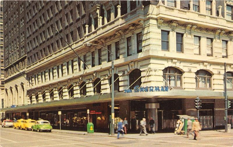 Chicago Illinois~Sherman Hotel~Clark & Randolph Street~Yellow Taxis~1950s Pc