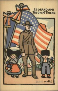 Andre Helle Art Deco American Soldier Flag French Children GREAT FRIEND WWI