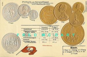 1902 Siamese (Thailand) Numismatic Postcard With Exchange Rates Tabled