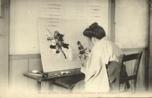 japan, Japanese Womens' Lives, Girl making Relief Pictures, Oshiye (1915)
