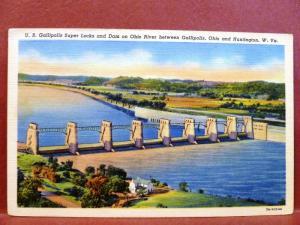 Postcard WV Huntington US Gallipolis Super Locks Ohio River Gallipolis OH