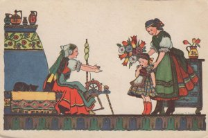 Hungary Sewing Crafts Wheel Fashion Old Painting Postcard