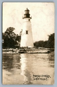 MARBLEHEAD OH LIGHT HOUSE 1915 ANTIQUE REAL PHOTO POSTCARD RPPC