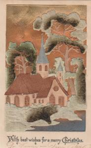 Christmas~Bronze Sky~Country Church~Green Felt Add-On Trees~Airbrushed~1909 OC