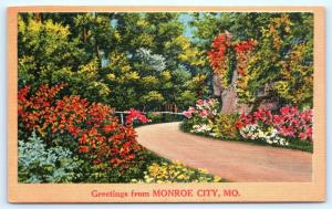 Postcard MO Monroe City Scenic Greetings from Monroe City Vintage Linen L13