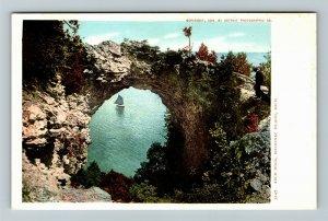 Mackinac Island MI-Michigan, Sailboat, Arch Rock, Vintage Postcard