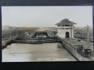 Central America THE PANAMA CANAL Inside Gatun Locks - Old RP Postcard