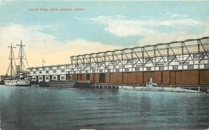 New London Connecticut~State Pier~Sailing Ship~Submarine~1910 Postcard