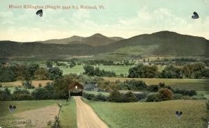 View of Mount Killington - Covered Bridge at Rutland VT, Vermont - DB