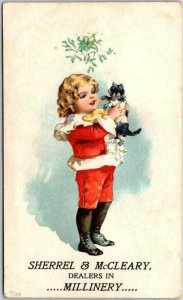 Vintage 1890s Advertising Trade Card SHERREL & McCLEARY Millinery Hat Store Cat