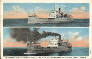 Great Laks Michigan Car Ferry Boats Mackinaw St. Ignace c1920 Postcard