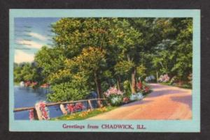 IL Greetings from CHADWICK ILLINOIS Postcard Linen PC